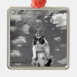 Metal Ornament: Funny cat flying with Balloons Christmas Ornament