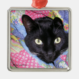 Metal Ornament: Funny Cat wrapped in Blankets Christmas Ornament