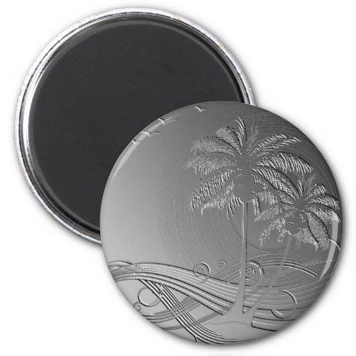 Metal Palms 6 Cm Round Magnet