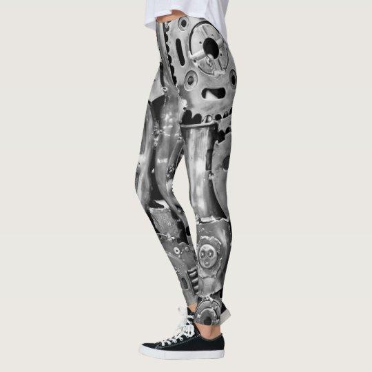 Metal parts bionic woman legs leggings