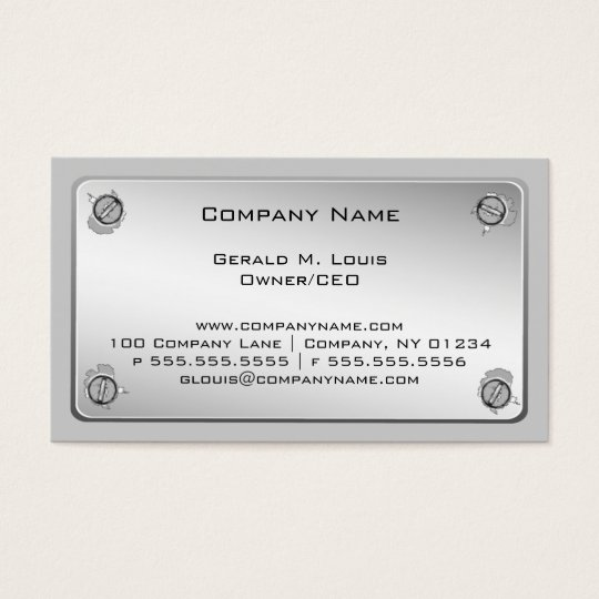 Metal Plate Construction Business Cards