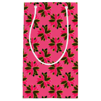 Metal Poinsettia Flowers-11-Pink-Gold-GIFT BAG S