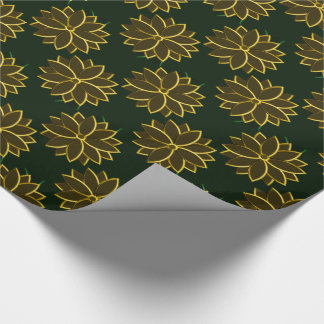 Metal Poinsettia Flowers 2, Green-Gold-GIFT WRAP Wrapping Paper