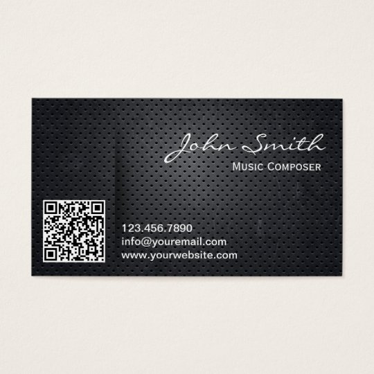 Metal QR Code Music Composer Business Card