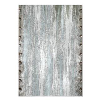 Metal Rivets on Weathered Wood 9 Cm X 13 Cm Invitation Card