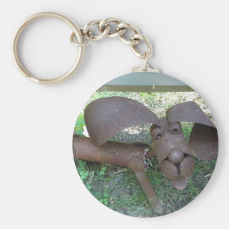 Metal rusted dog basic round button key ring