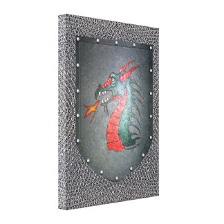 Metal Shield Dragon Chainmail Background Canvas Prints