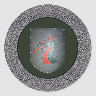 Metal Shield Dragon Chainmail Border Round Sticker