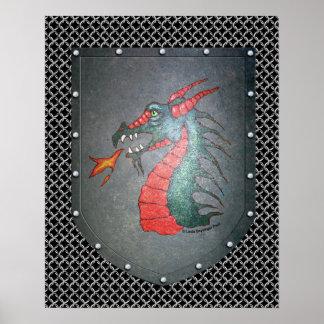 Metal Shield Dragon Chainmail Poster
