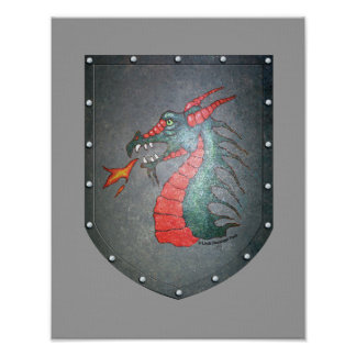 Metal Shield Dragon Gray Background Poster