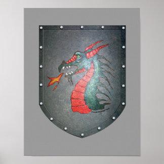 Metal Shield Dragon Print
