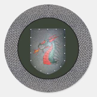 Metal Shield Dragon Stickers