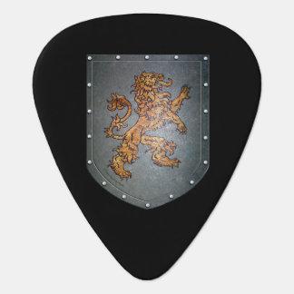 Metal Shield Lion Black Background Guitar Pick