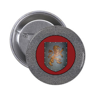 Metal Shield Lion Chainmail 6 Cm Round Badge