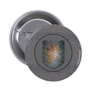 Metal Shield Lion Chainmail Dark Gray 6 Cm Round Badge