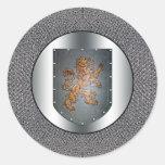 Metal Shield Lion Chainmail Round Sticker