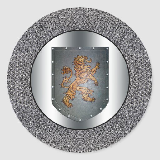 Metal Shield Lion Chainmail Stickers