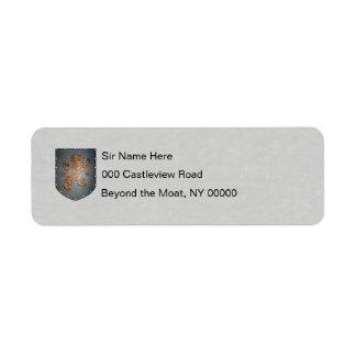 Metal Shield Lion Gray Faux Parchment Return Address Label