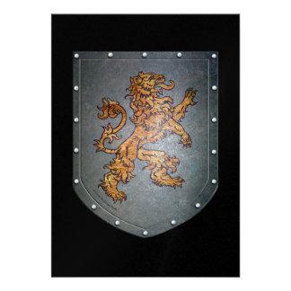 Metal Shield Lion Custom Announcements