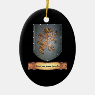 Metal Shield Lion Latin Black Christmas Ornament