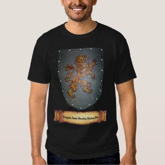 Metal Shield Lion Latin Design Tee Shirt