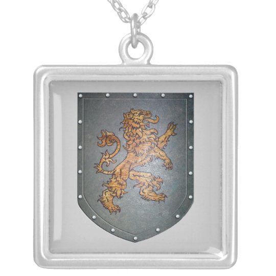 Metal Shield Lion Light Grey Silver Plated Necklace