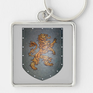 Metal Shield Lion Painting Silver-Colored Square Key Ring