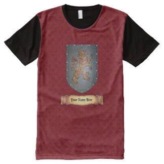 Metal Shield Lion Red All-Over Print T-Shirt