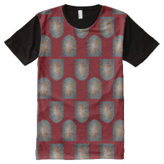 Metal Shield Lion Red Fleurs All-Over Print T-Shirt