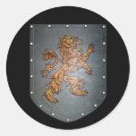 Metal Shield Lion Round Stickers