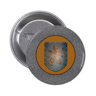 Metal Shield Medieval Lion Chainmail 6 Cm Round Badge