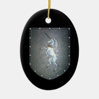 Metal Shield Rampant Unicorn Christmas Ornament