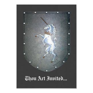 Metal Shield Unicorn 13 Cm X 18 Cm Invitation Card