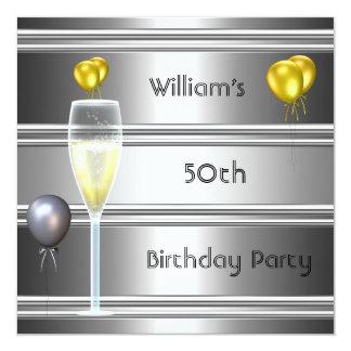 metal Silver Black 50th Birthday Mens 13 Cm X 13 Cm Square Invitation Card
