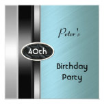 Metal Silver Green Mens 40th Birthday Party Man 5.25x5.25 Square Paper Invitation Card