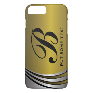 Metal silver grey and gold monogram custom iPhone 7 plus case