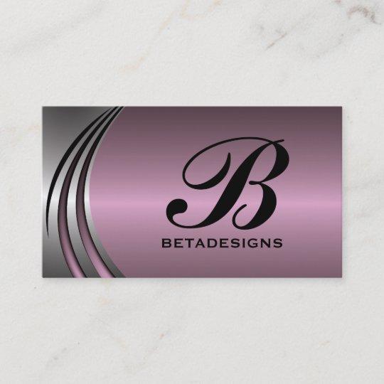 Metal Silver Grey Dusty Pink Eye Catching Monogram Business Card