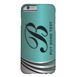 Metal silver grey teal, monogram custom barely there iPhone 6 case