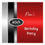 Metal Silver Red Mens 40th Birthday Party Man Announcement