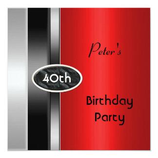 Metal Silver Red Mens 40th Birthday Party Man 13 Cm X 13 Cm Square Invitation Card