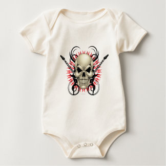 Metal Skull and Guitars design Baby Bodysuit