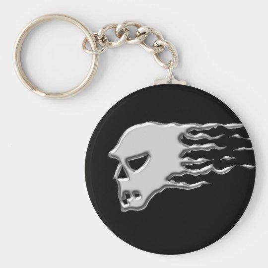Metal skull basic round button key ring
