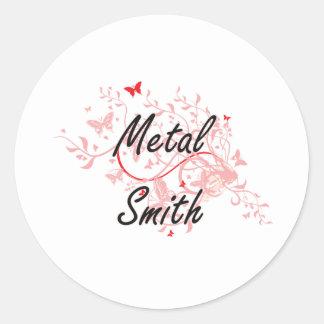 Metal Smith Artistic Job Design with Butterflies Round Sticker