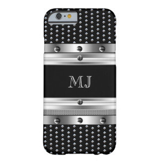 Metal Studs Metal look Chrome Monogram 2 Barely There iPhone 6 Case