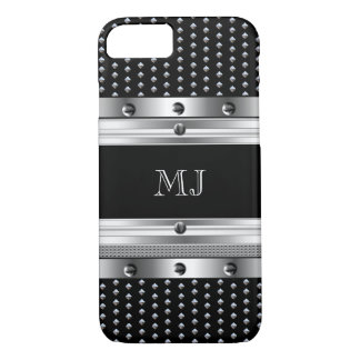 Metal Studs Metal look Chrome Monogram 2 iPhone 7 Case