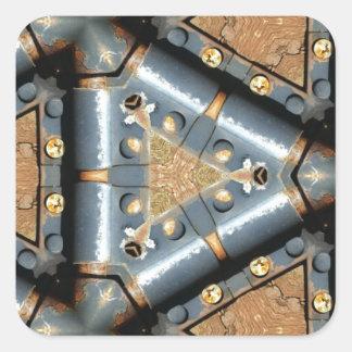 metal symmetry square sticker