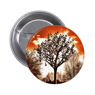 metal tree on the field orange tint 6 cm round badge