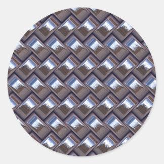 metal Weave blue (I) Round Sticker