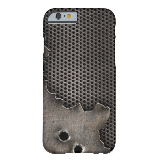 Metal with bullet holes background barely there iPhone 6 case