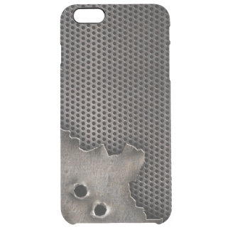 Metal with bullet holes background clear iPhone 6 plus case